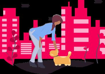 Ilustração de mulher fazendo carinho em cachorro